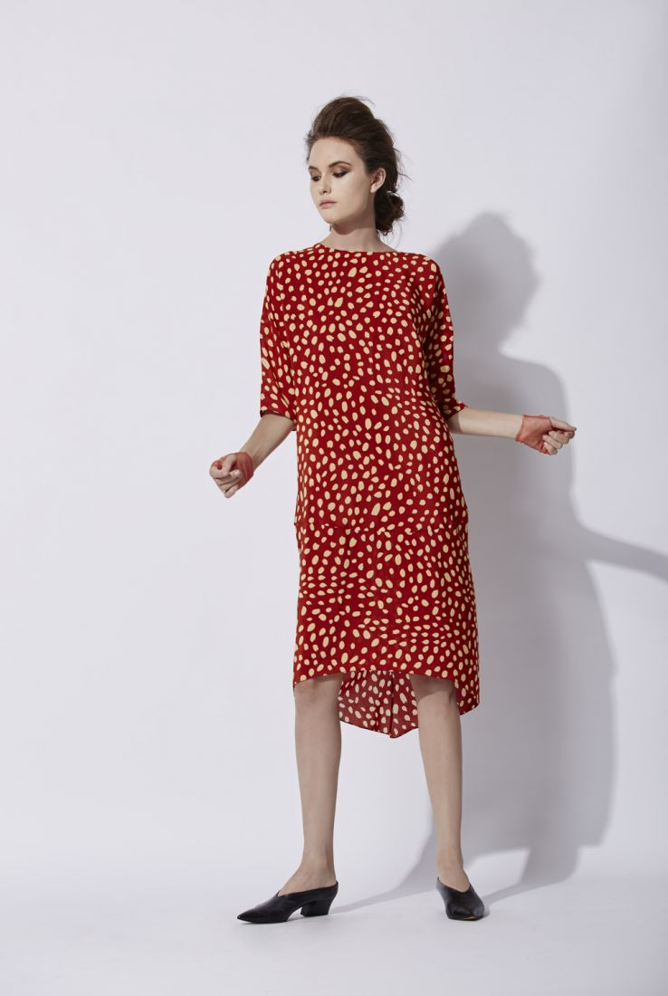 Ghost dress in fall red print