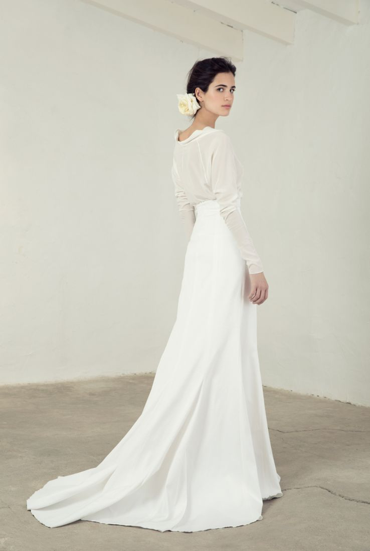 Paula top with long sleeves and rice skirt cortana bridal for Wedding dress skirt and top