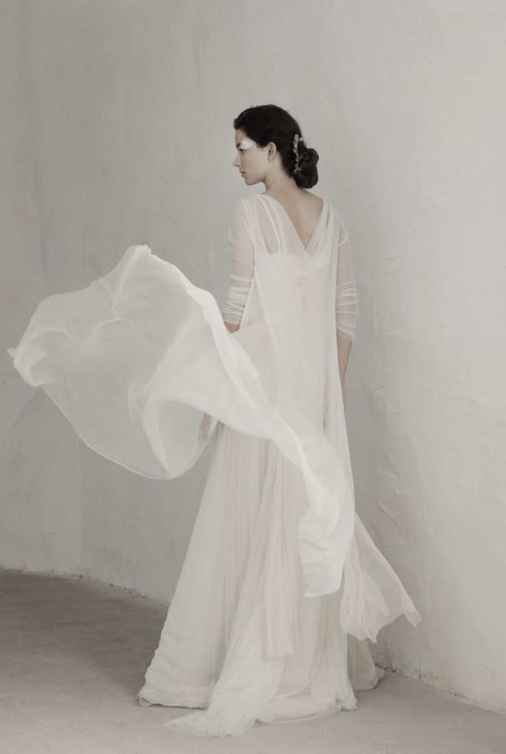Gemma dress with Volare silk tulle coat