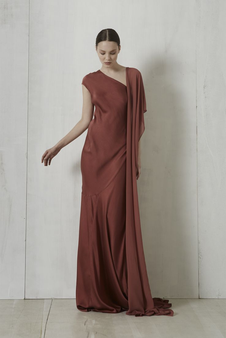 Penelope long silk dress