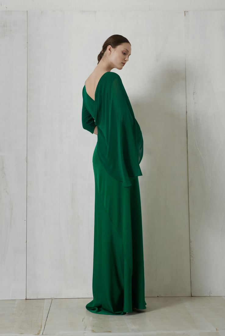 Sarah, green silk dress, Dresses collection – Cortana Moda