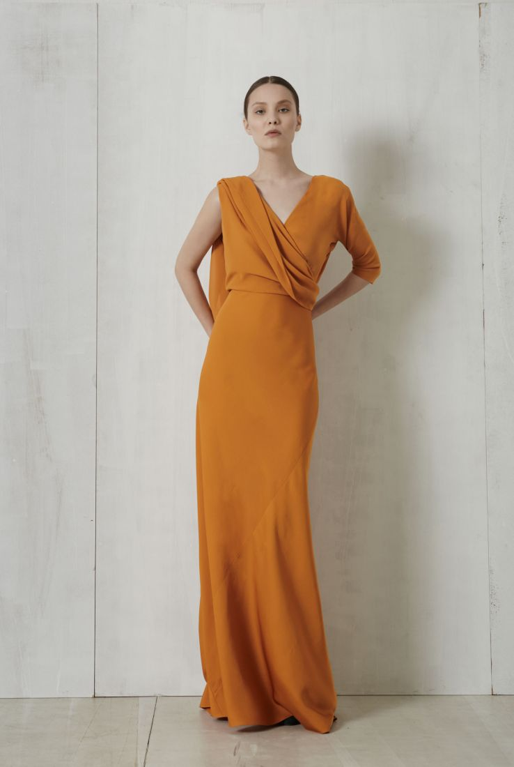 Sarah, saffron long silk dress, Dresses collection – Cortana Moda