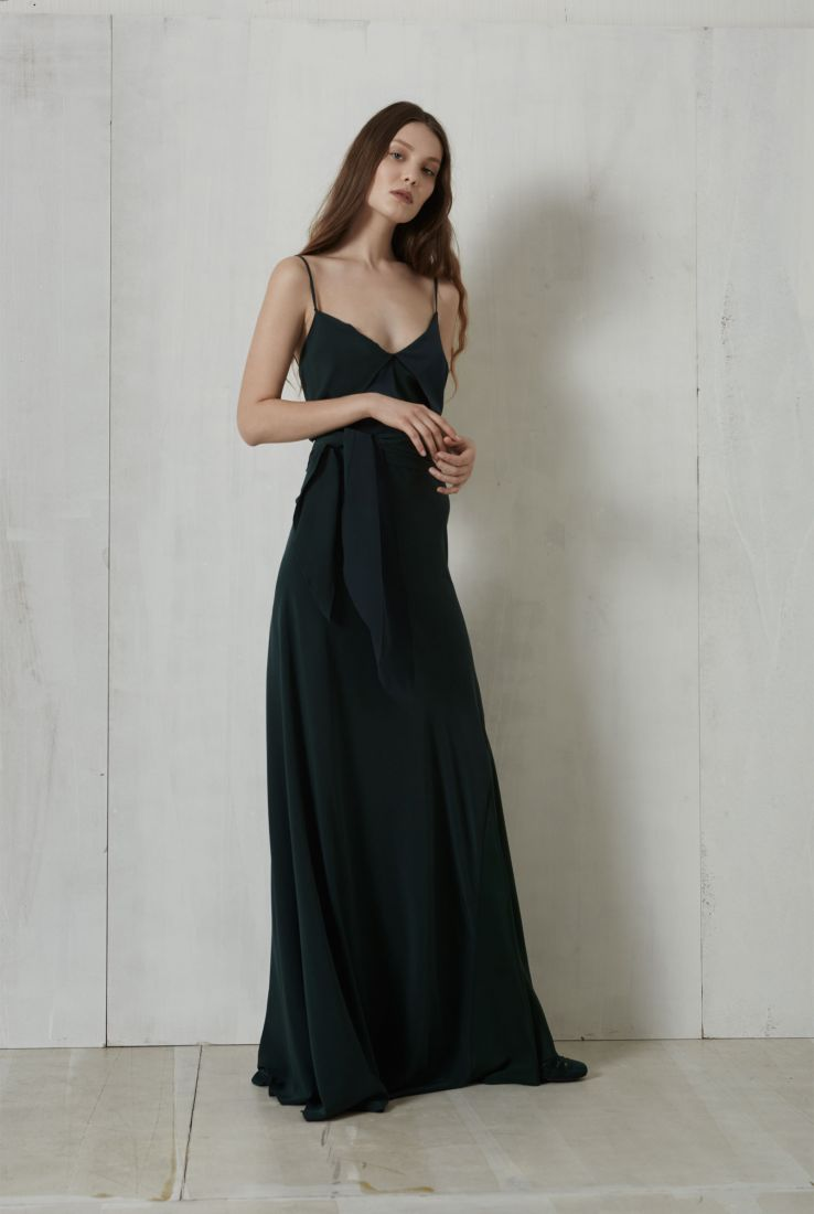 Seren, long cocktail green silk dress, Dresses collection – Cortana Moda