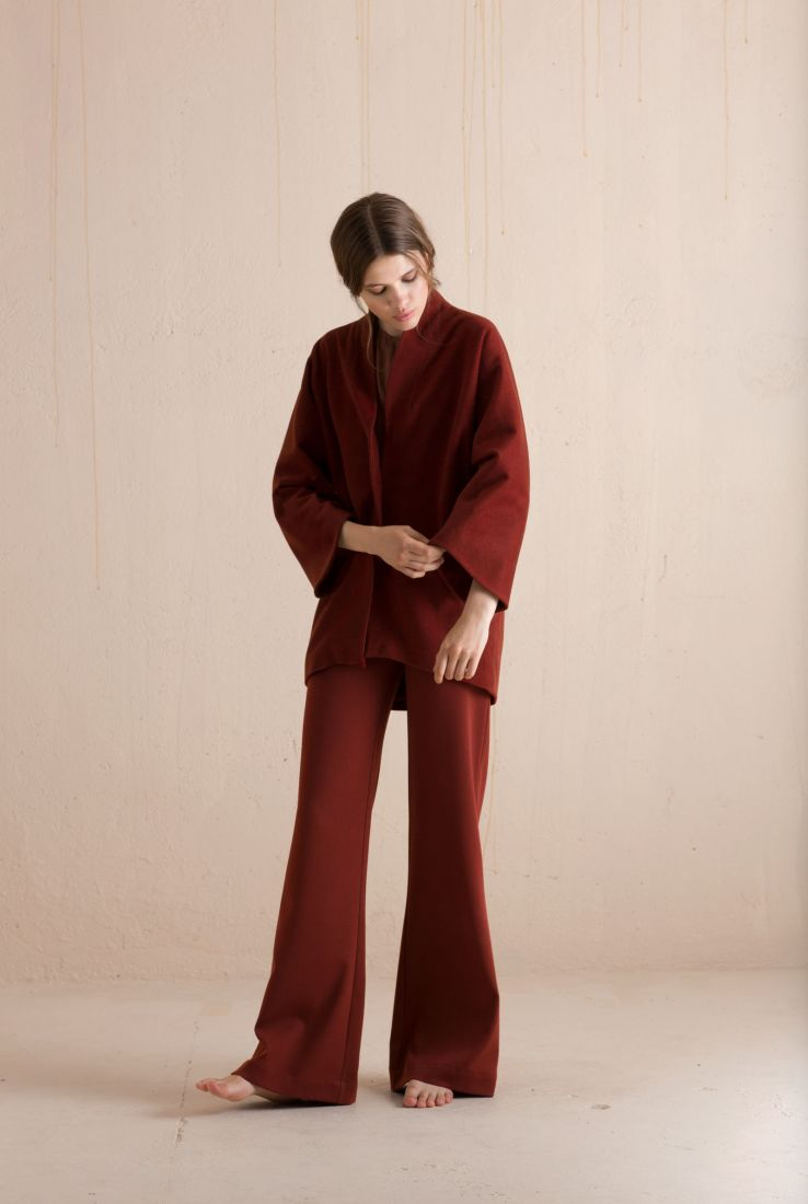Red Kimono coat and Dora pants