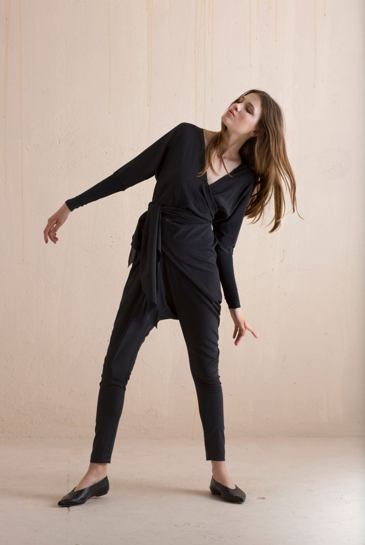 Monkey, black silk jumpsuit