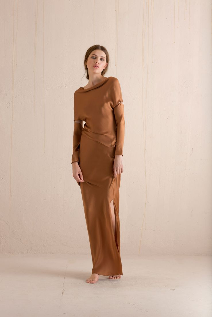 Tilda long silk dress