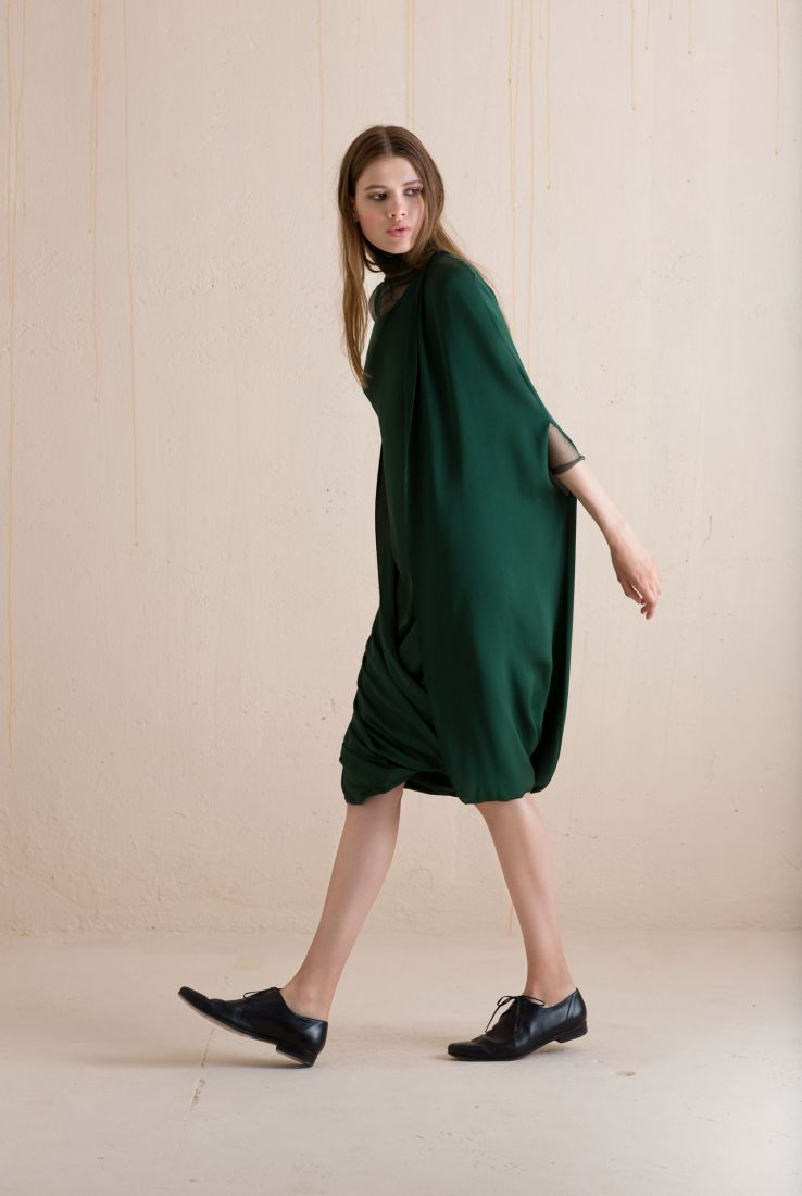 Mars, green silk cape dress, Dresses collection – Cortana Moda