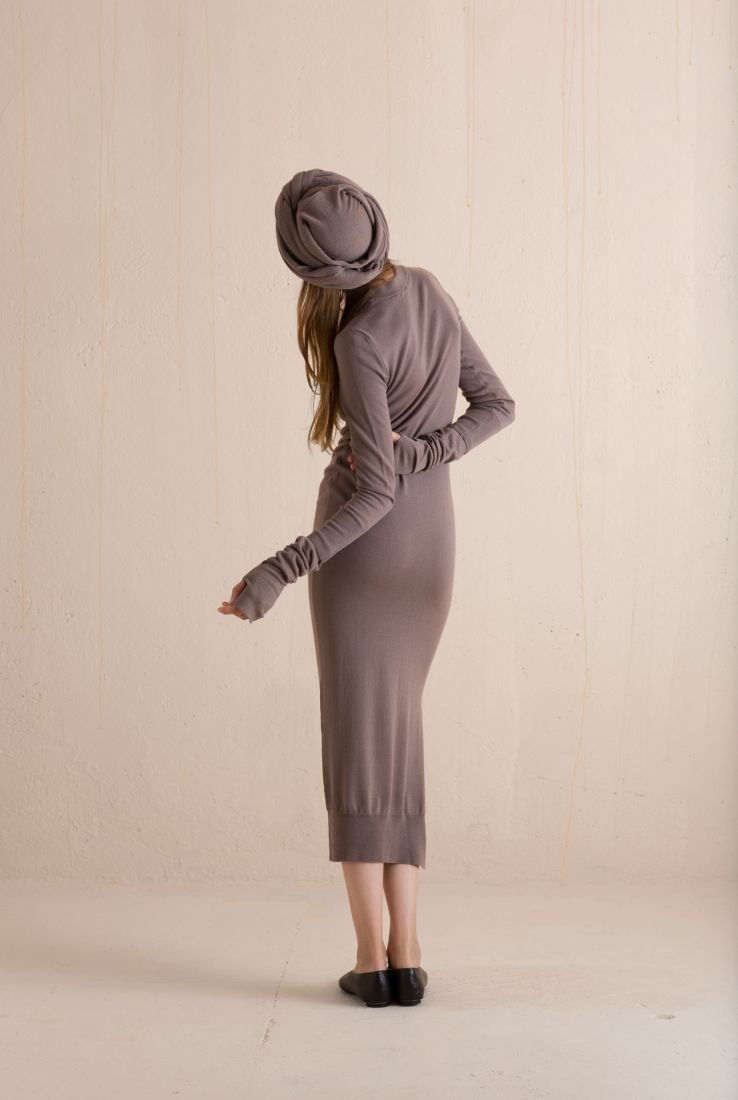 Bird, midi wool and cashmere dress, Dresses collection – Cortana Moda
