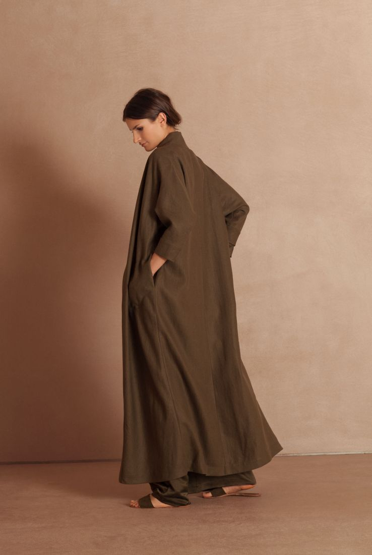 Balta long linen coat with Asia top and Saba pants