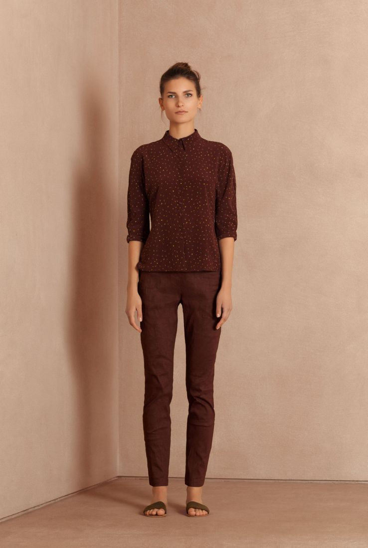 Color, printed silk shirt with burgundy Manolo pants