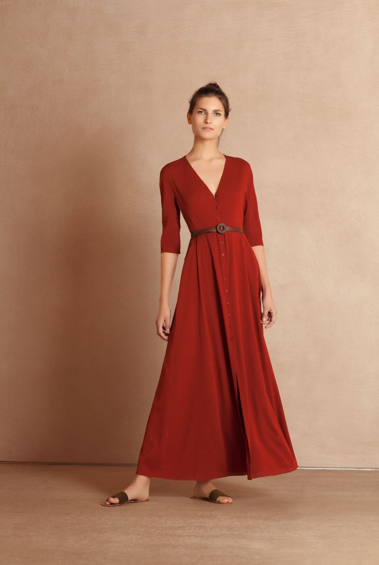 Emilia red silk dress with Aro brown leather belt