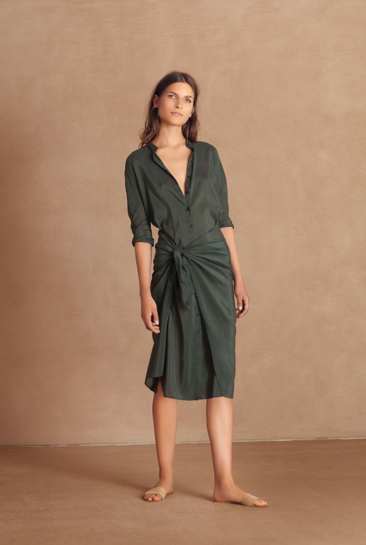 Gora, green wrap dress
