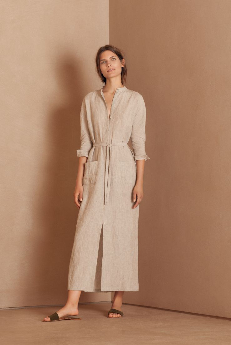Hiraki, beige linen dress