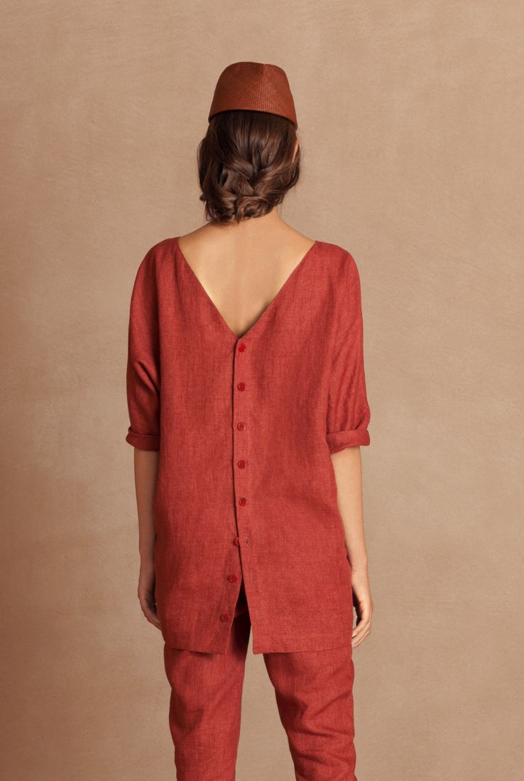 Cor, overize red linen top, Sales collection – Cortana Moda