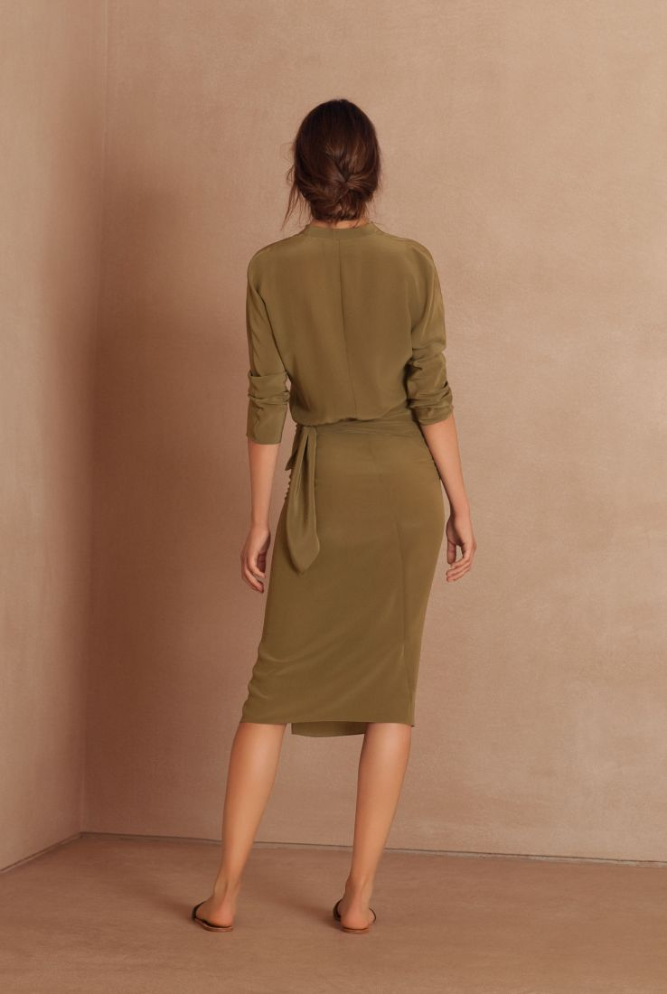 Mili, green wrap silk dress, Dresses collection – Cortana Moda