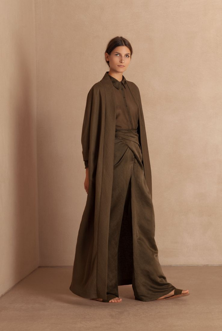Balta Khaki linen long coat