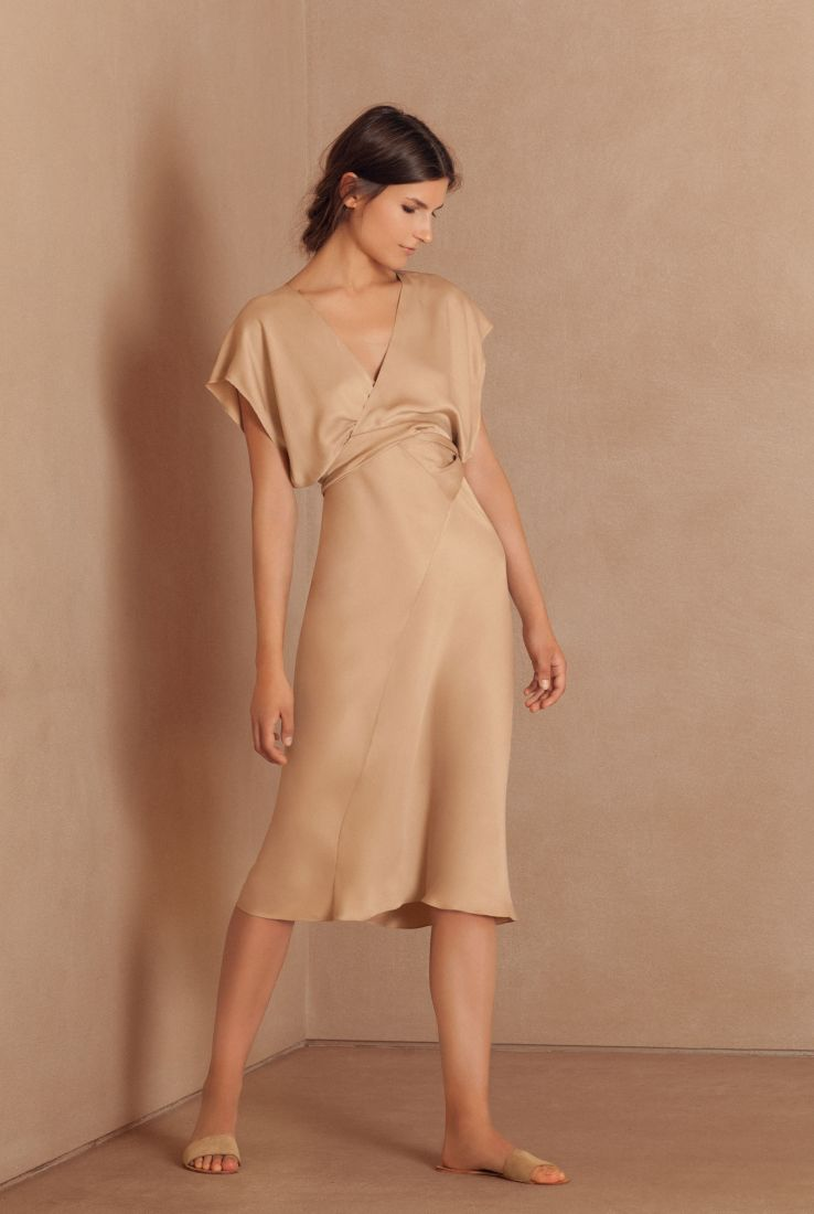 Caza midi dress in Italian silk