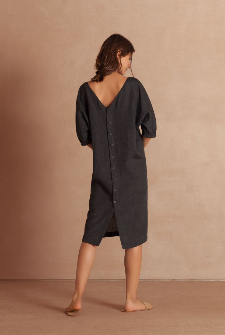 Cor, oversize blue linen dress, Verdes collection – Cortana Moda
