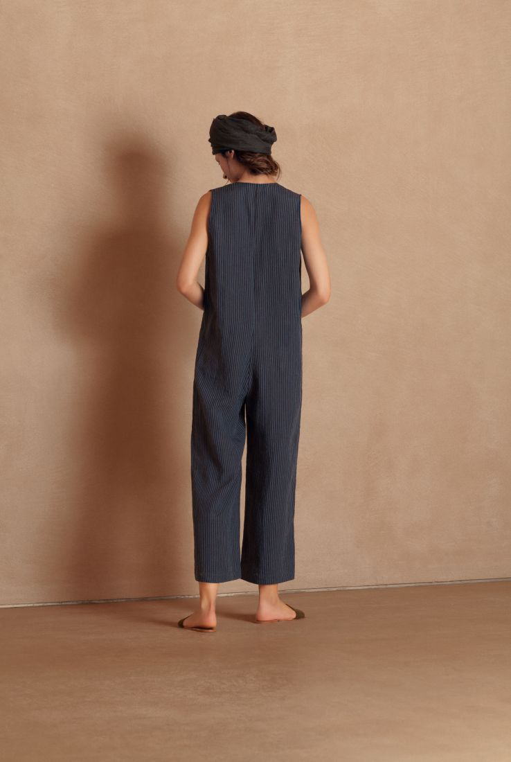 Dalila, striped blue linen jumpsuit, Jumpsuit collection – Cortana Moda