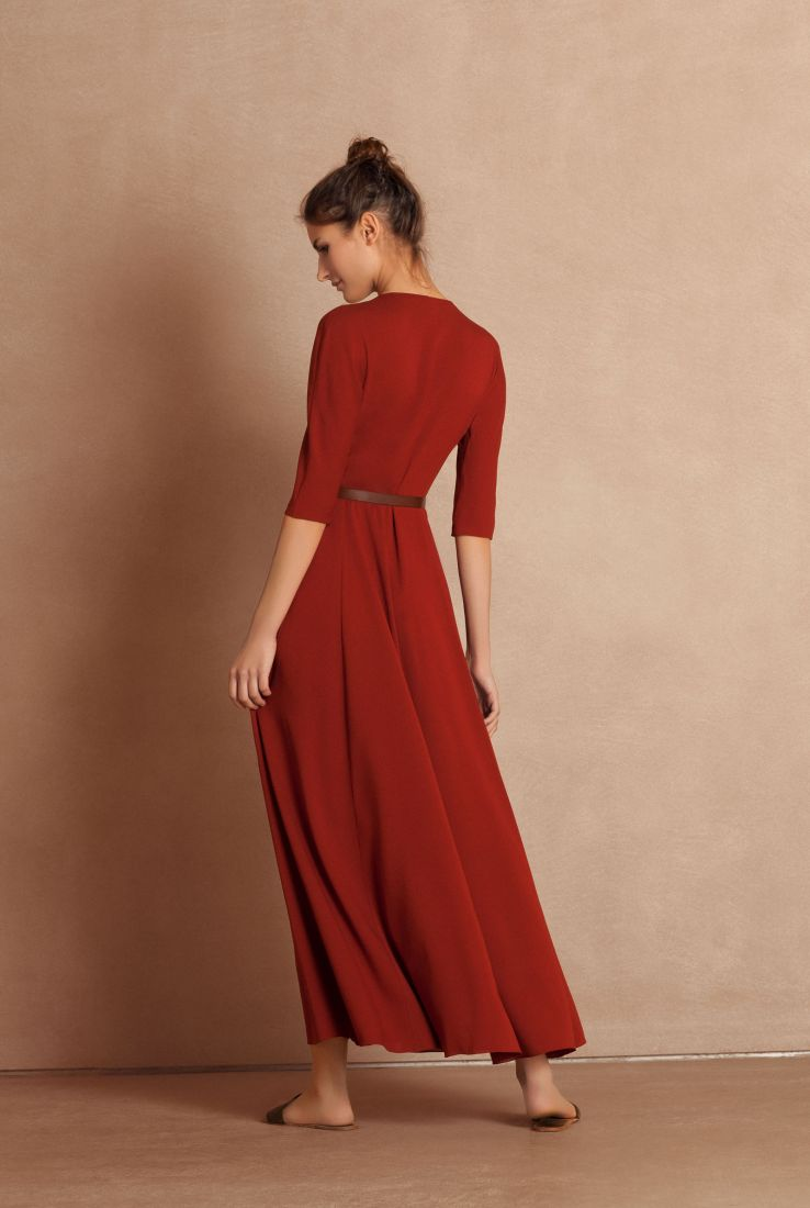 Emilia, red silk dress, Dresses collection – Cortana Moda