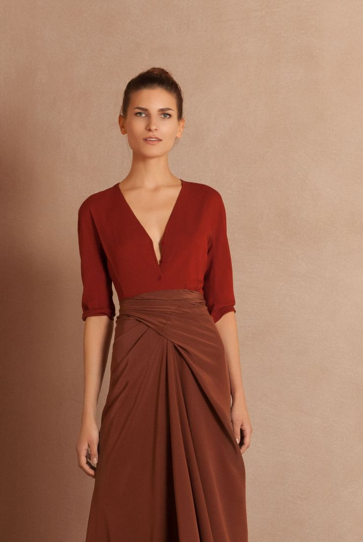 Emilia red top with maroon skirt