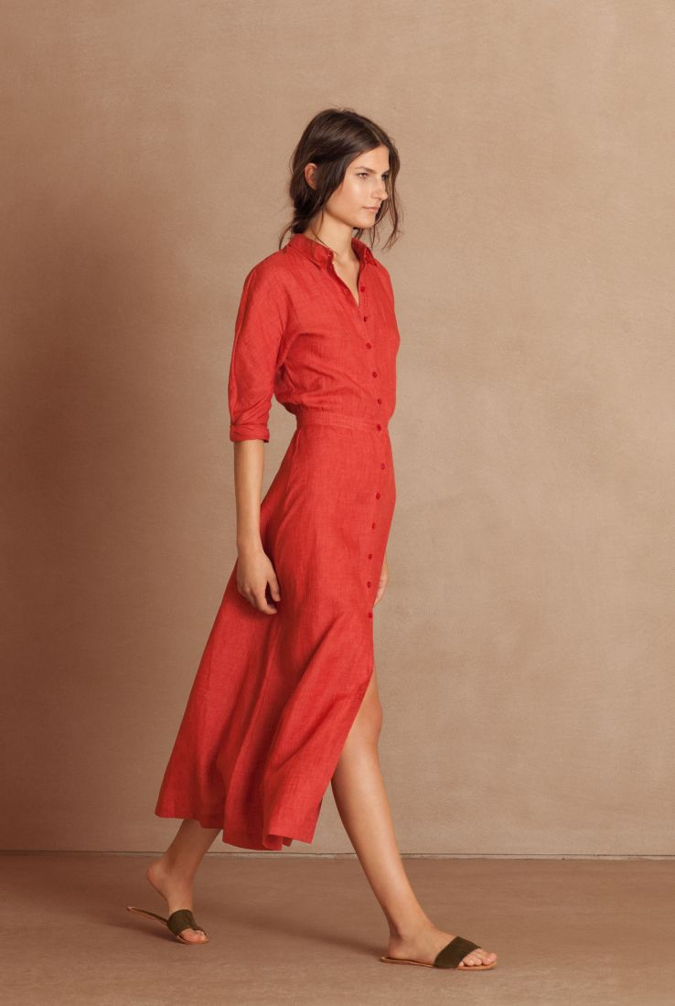 Fresa, linen shirt-dress, red collection – Cortana Moda