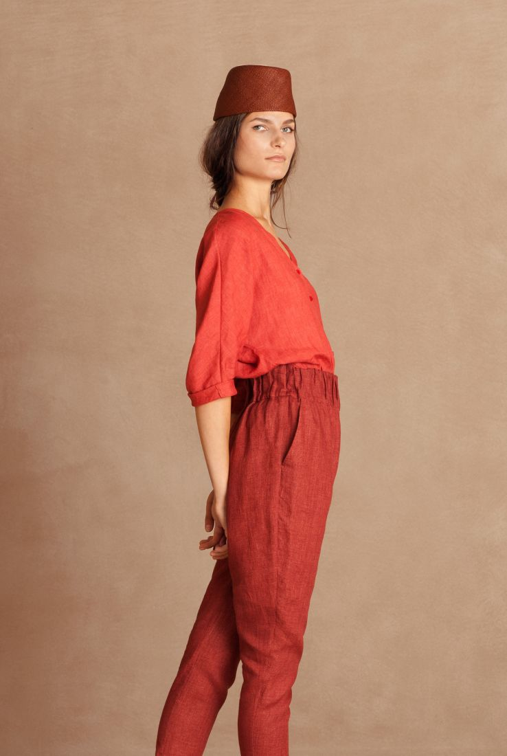 Fresa, red linen top, Sales collection – Cortana Moda