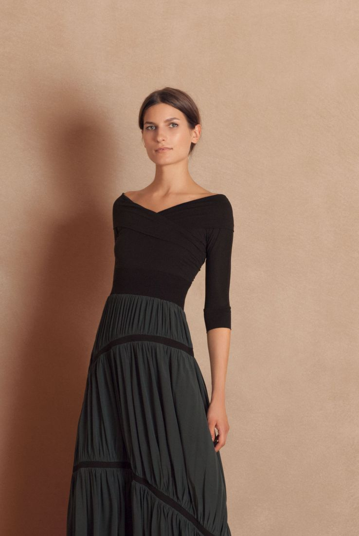 Ganesh black top with Vermo green skirt