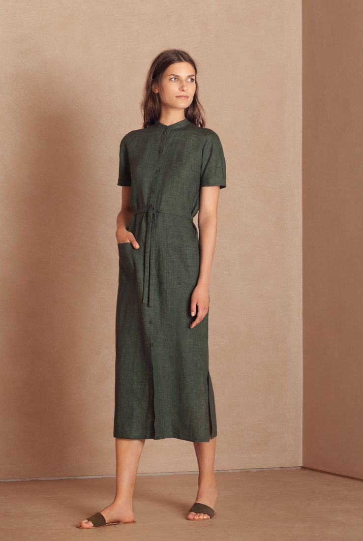 Mando green shirt dress linen Cortana spring summer 2018 collection