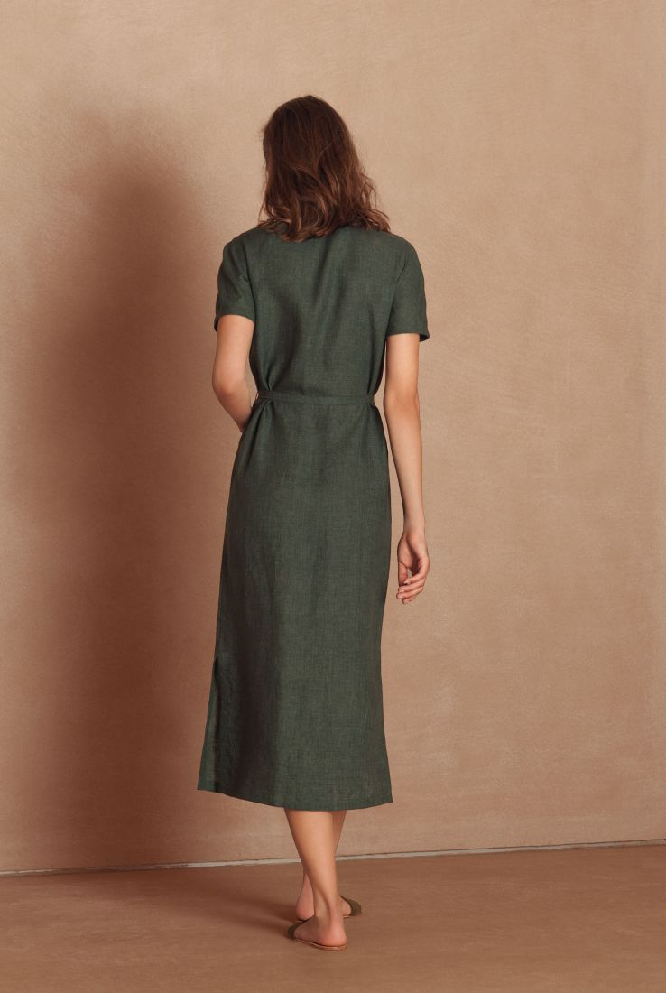 Mando, green linen shirt dress, Verdes collection – Cortana Moda