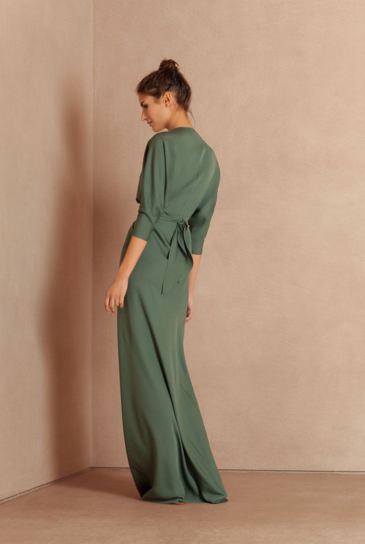 Mara, turquoise green long silk dress, Dresses collection – Cortana Moda