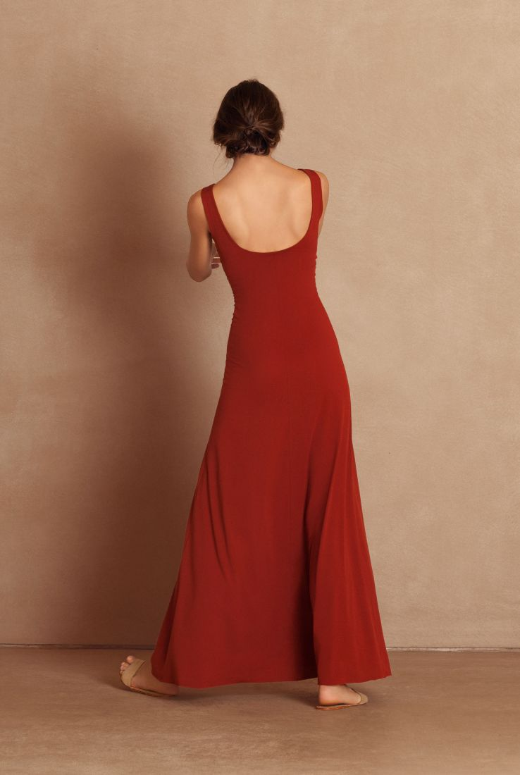 Vein, long red silk jersey dress, Dresses collection – Cortana Moda