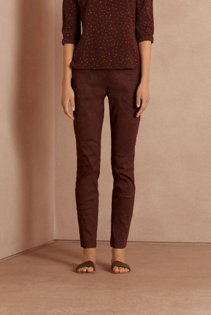 Manolo elastic linen pants burgundy, Cortana Spring Summer 2018 collection.