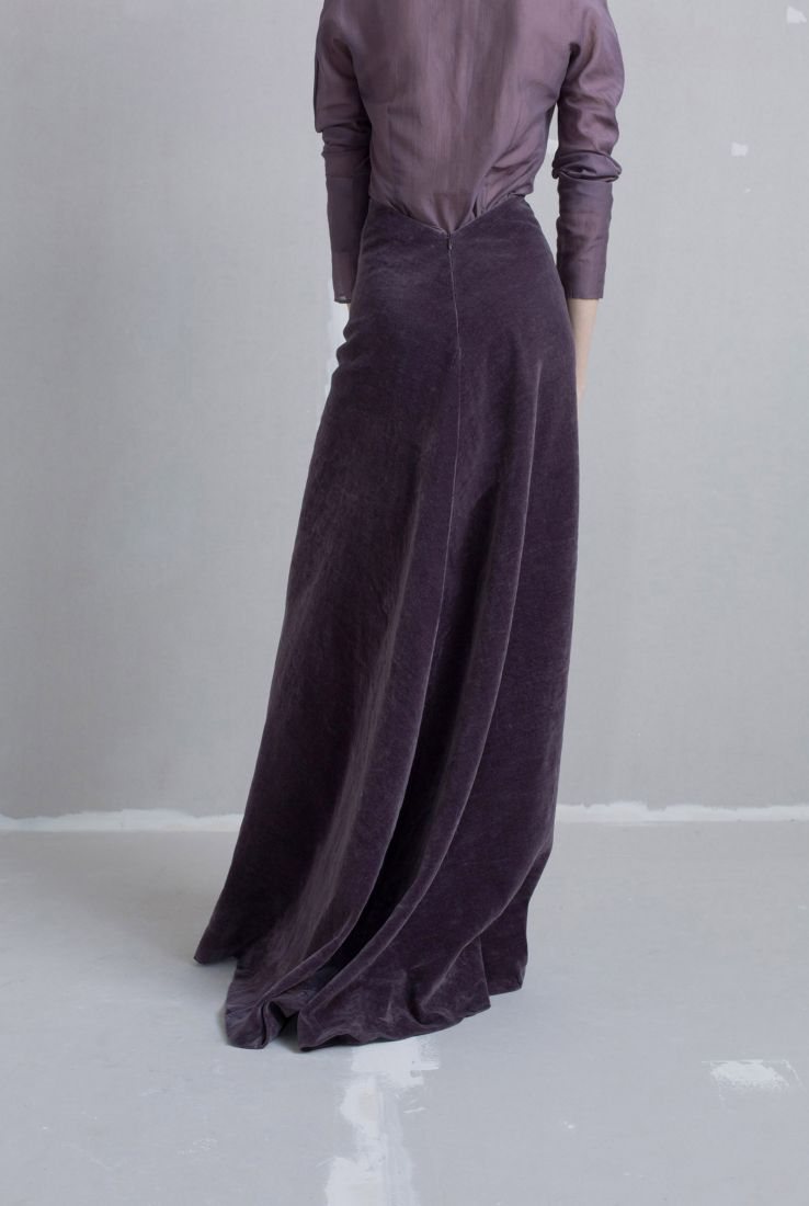 Lavender velvet skirt, AW18 collection – Cortana Moda