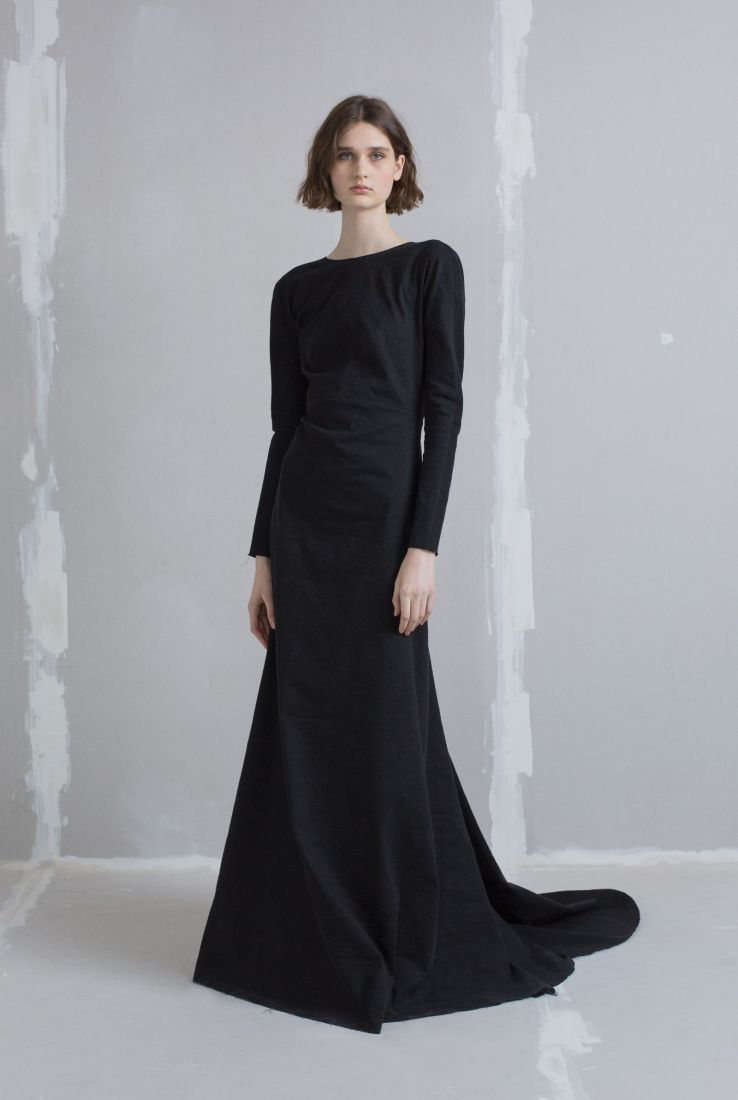 Nuit, long dress in black, AW18 collection – Cortana Moda