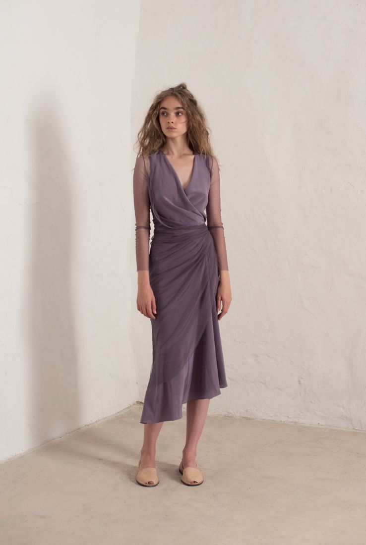 LUXOR PARTY DRESS IN LAVENDER SILK, DRESSES collection – Cortana Moda