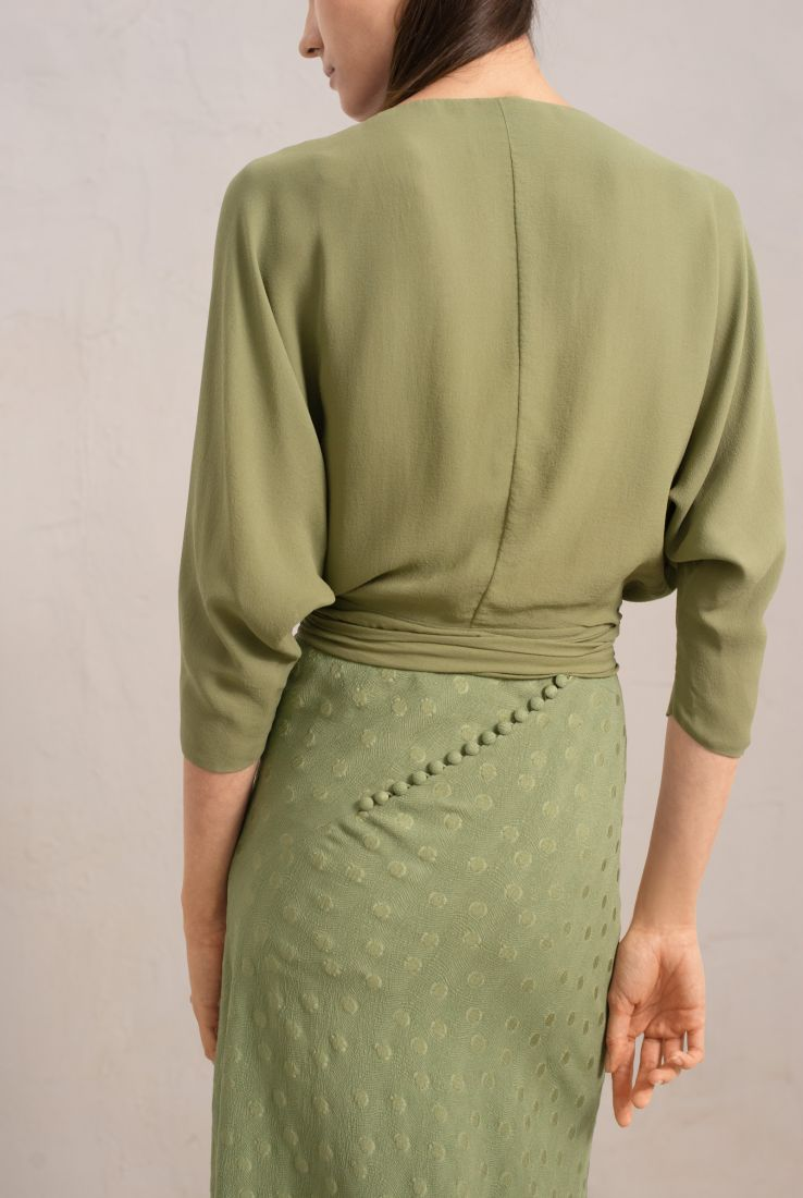 MARA WASABI GREEN SILK TOP, SS19 collection – Cortana Moda