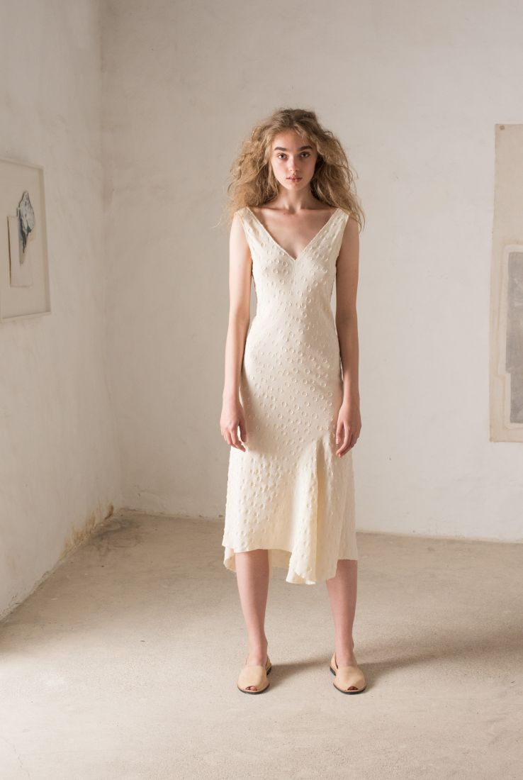 Rosario nude jacquard dress