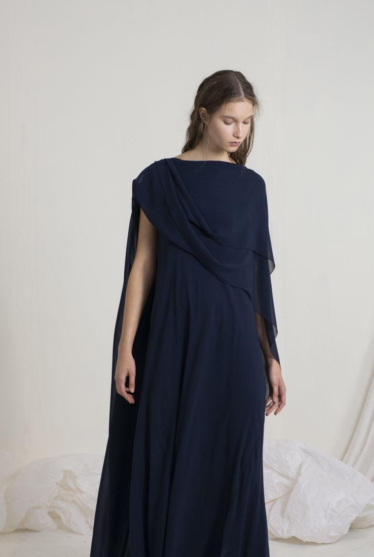 ALYSA, LONG TRANSFORMABLE BLUE DRESS