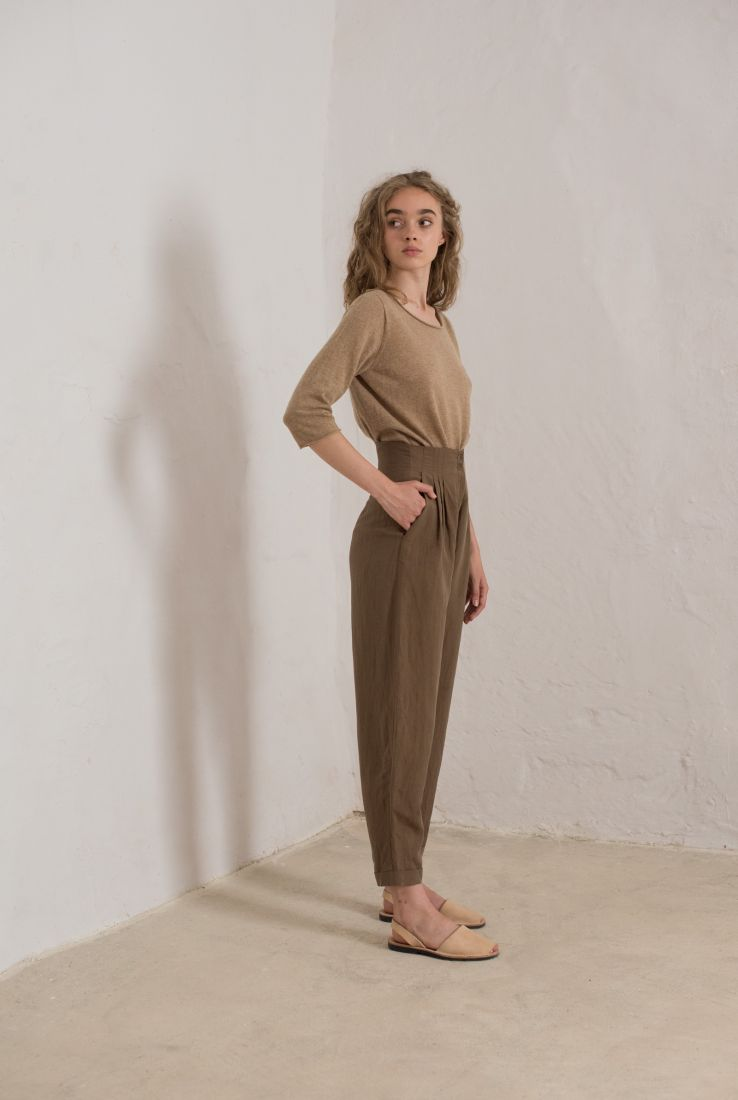 STONE HIGH WAISTED BROWN PANTS, PANTS collection – Cortana Moda
