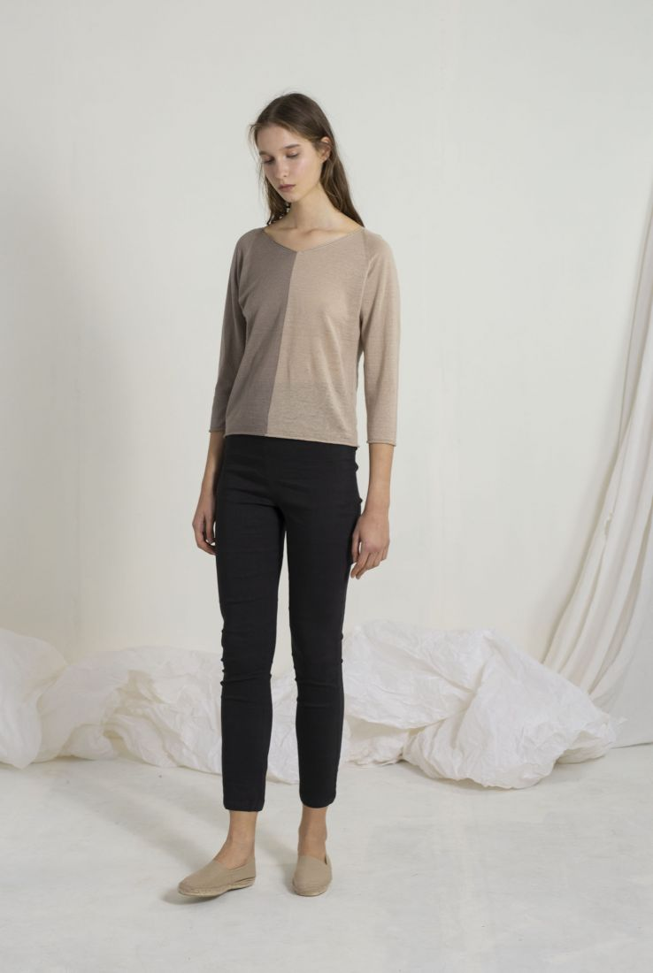 BIO, GREY AND BEIGE TOP, SS19 collection – Cortana Moda