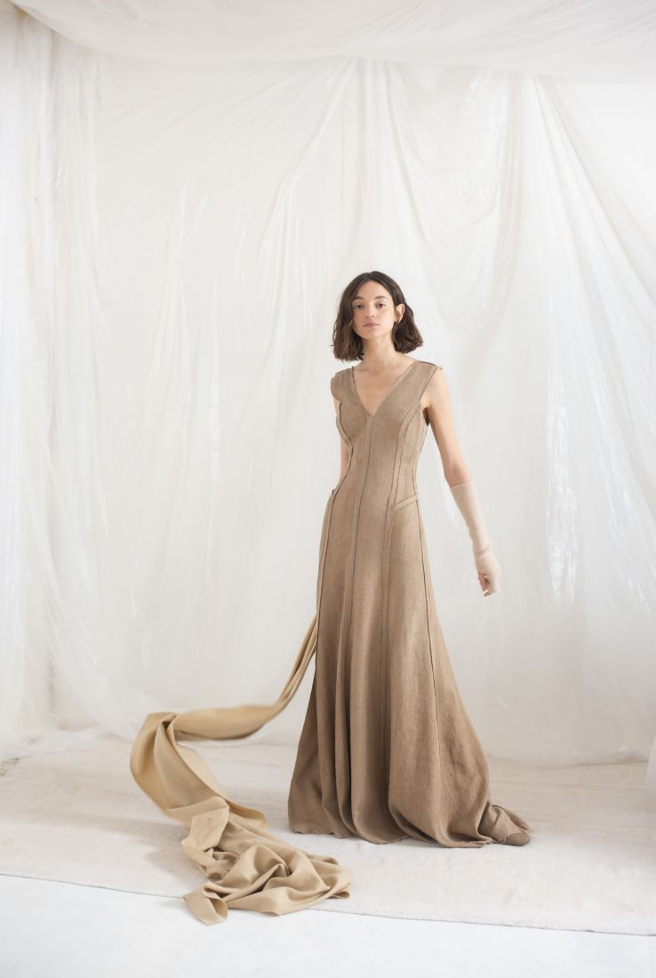 Drap, sand colored dress with cashmere mittens