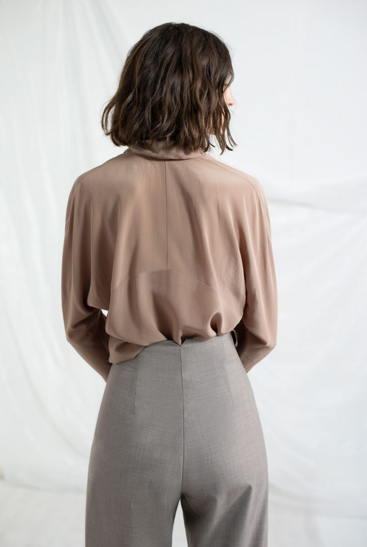 Mecca blouse, Ava pants and taupe poncho