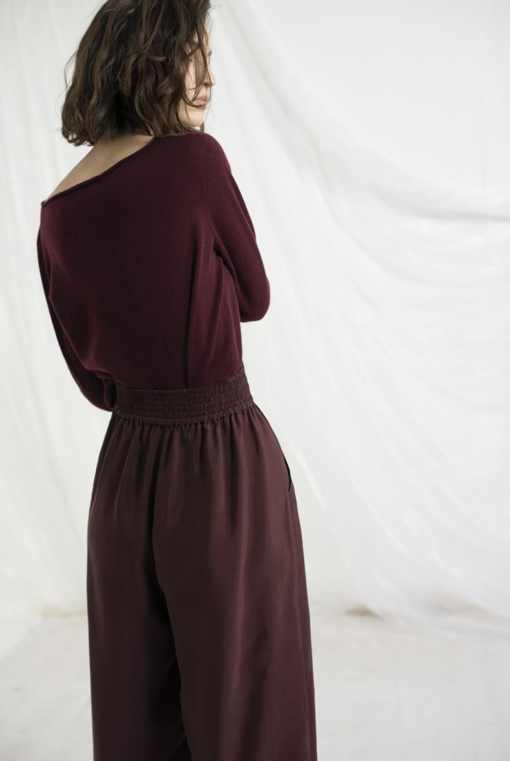 BRISA, BURGUNDY CASHMERE SWEATER, AW19 collection – Cortana Moda