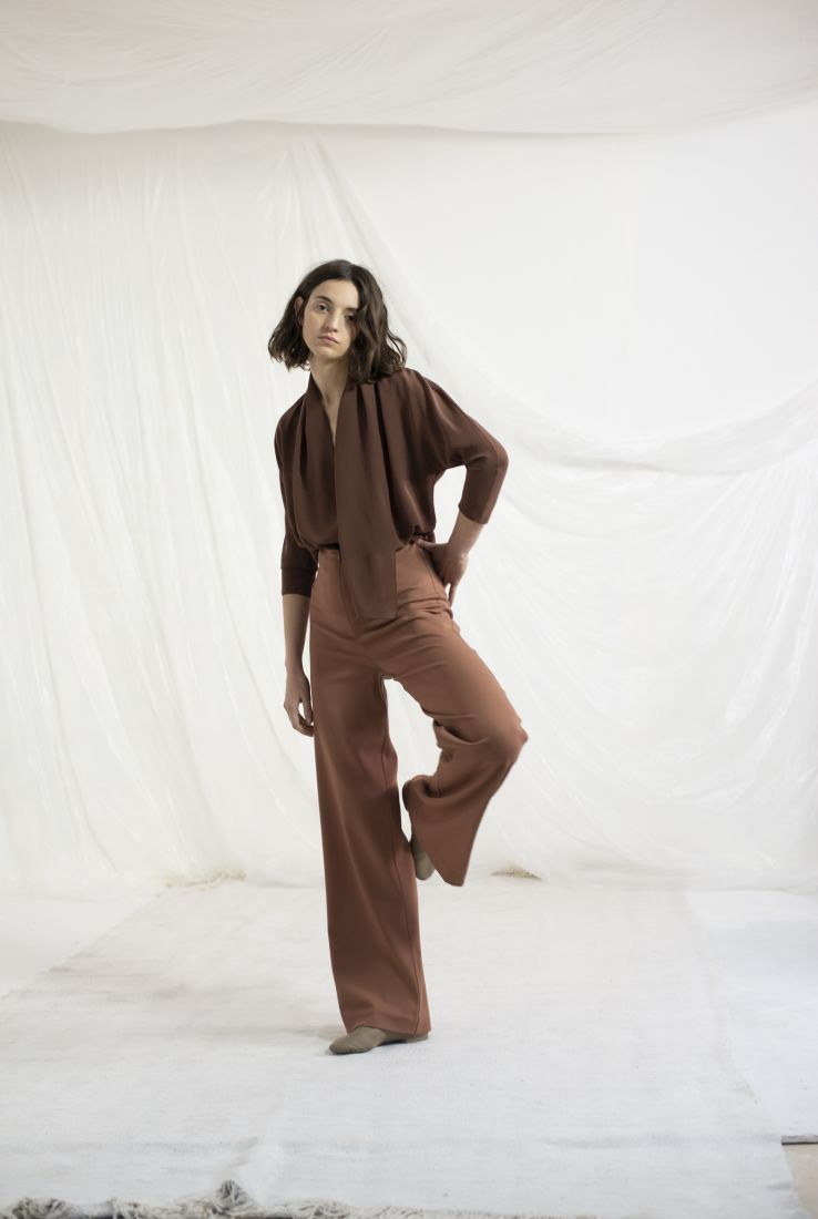 CANNES, BROWN SILK TOP, AW19 collection – Cortana Moda