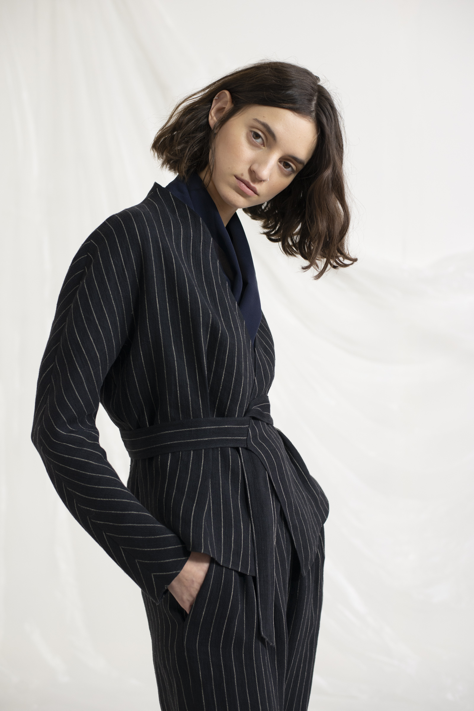 KAT, STRIPED LINEN JACKET - Cortana