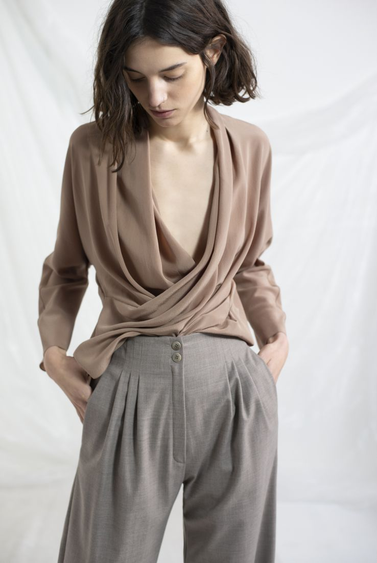 MECCA, SILK DRAPED TOP, AW19 collection – Cortana Moda