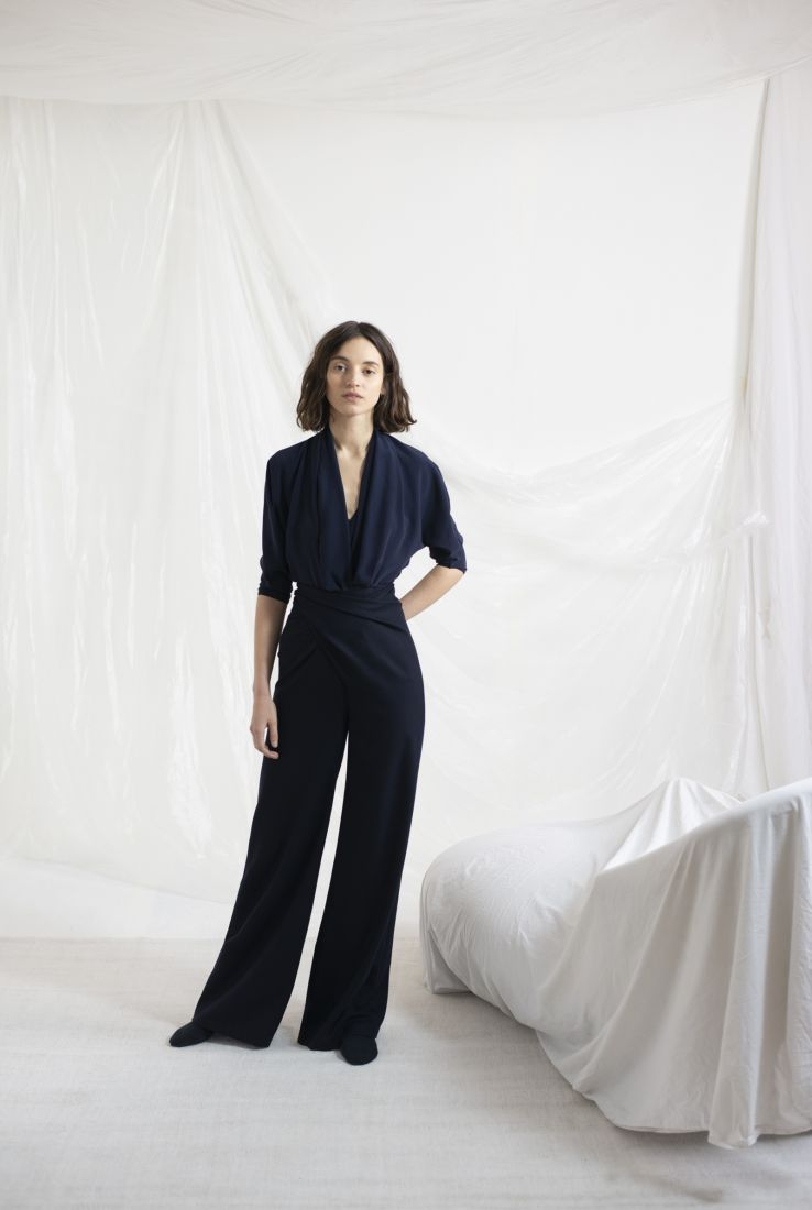 MONGOLIA, DRAP BLUE PANTS, AW19 collection – Cortana Moda