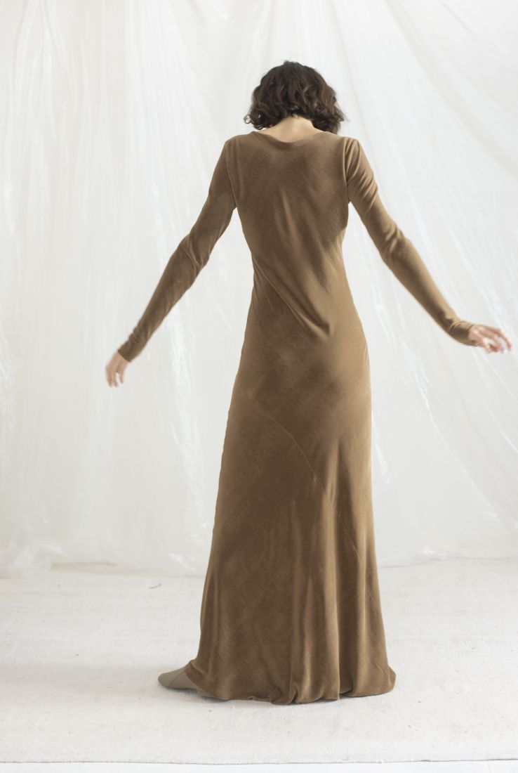 SKIN, VELVET LONG DRESS, AW19 collection – Cortana Moda