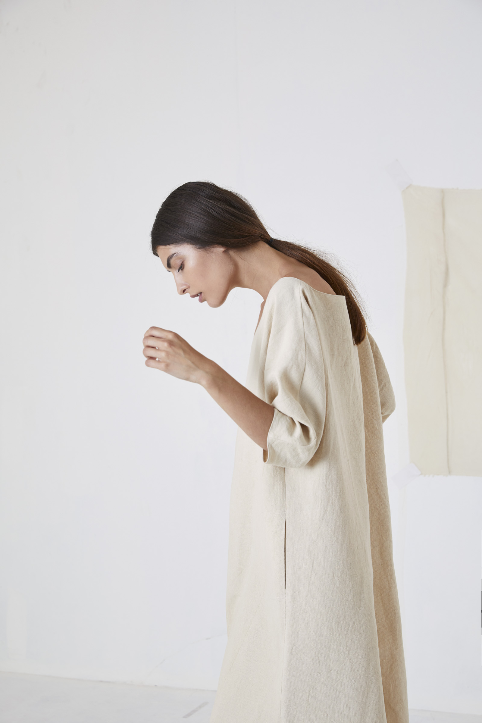 Cenit, beige linen and cotton tunic